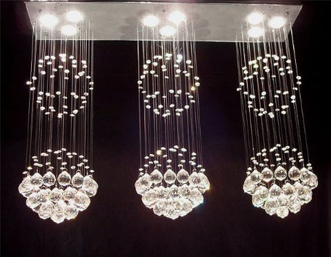 "Modern Contemporary Chandelier Triple ""Rain Drop"" Chandeliers Lighting H31"" X W39"" X L10"" - G93-Md/9342/3+3+3--"