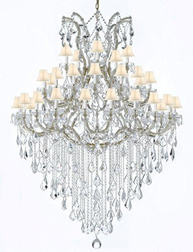 "Large Foyer / Entryway Maria Theresa Empress Crystal (Tm) Chandelier Lighting W/White Shade H 72"" W 52"" - Gb104-Gold/Whiteshade/B13/2756/36+1"