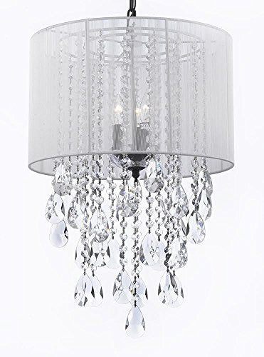 "Crystal Chandelier Empress Crystal (Tm) With Large White Shade H24"" X W15"" - G7-B9/White/3/604/3"