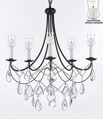"Crystal Chandelier W/ Candle Votives H22.5"" W26"" - For Indoor / Outdoor Use Great For Outdoor Events Hang From Trees / Gazebo / Pergola / Porch / Patio / Tent - A7-B31/B12/403/5"