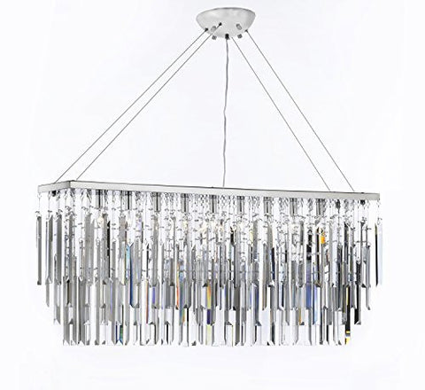 "Chandelier Light W/ Empress Crystal (Tm) Modern ""Rain Drop"" Chandeliers Linear Pendant - F7-B40/926/9"