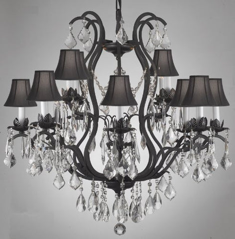 Wrought Iron Crystal Chandelier Lighting With Shades - A83-Blackshades/3034/8+4