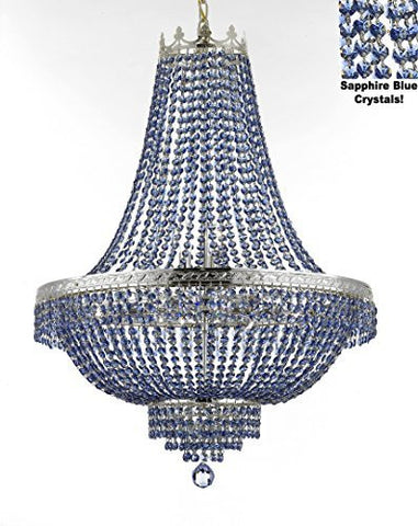 "French Empire Crystal Chandelier Lighting - Dressed With Sapphire Blue Color Crystals Great For A Dining Room Entryway Foyer Living Room H36"" X W30"" - F93-B82/Cs/870/14"