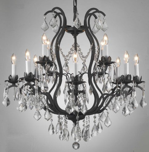 "Wrought Iron Crystal Chandelier H30"" X W28"" - Go-A83-3034/8+4"