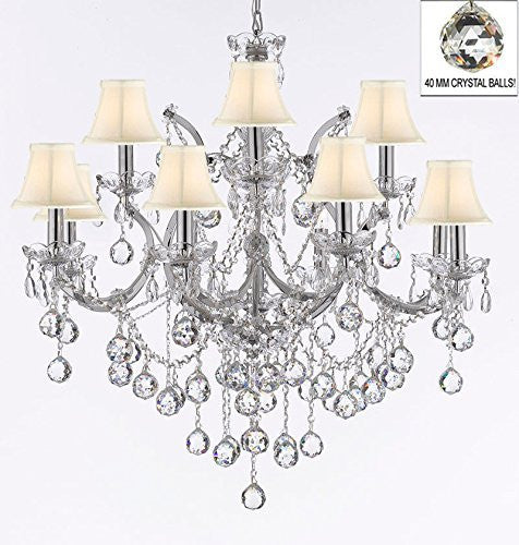 "Maria Theresa Chandelier Lighting Empress Crystal (Tm) Chandeliers H 30"" X W 28"" Chrome Finish Dressed With Crystal Balls With White Shades - J10-Sc/Whiteshade/B6/Chrome/26049/12+1"