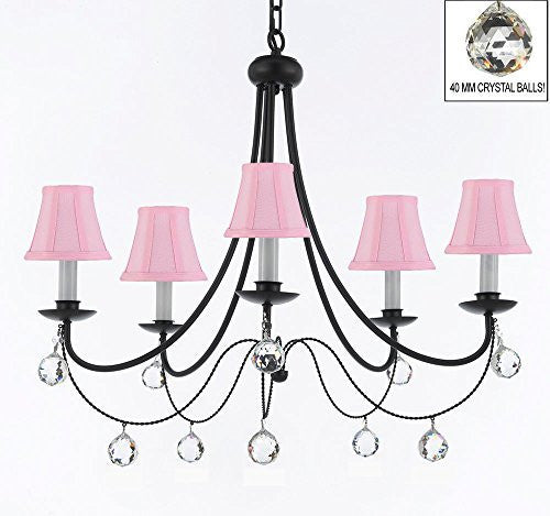 "Empress Crystal (Tm) Wrought Iron Chandelier Lighting H.22.5"" X W.26"" With Pink Shades And Crystal Balls - J10-Sc/Pinkshades/B6/26031/5"