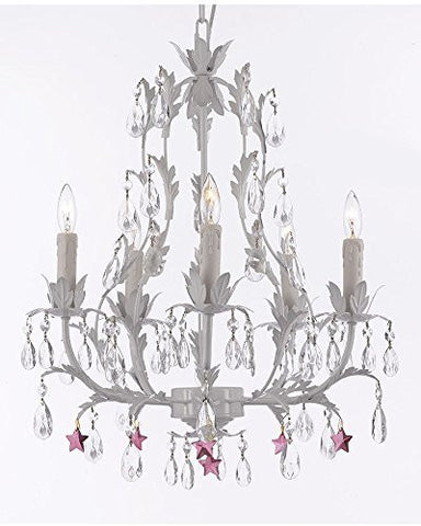 White Wrought Iron Floral Chandelier Lighting W/ Purple Stars - J10-B51/White/26016/5