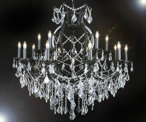 "Jet Black Crystal Chandelier With Clear Crystals W 37"" H 38"" - A83-Black&Clear/21510/15+1"
