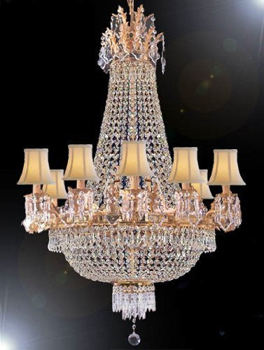 "French Empire Empress Crystal (Tm) Chandelier H40"" X W30"" With Shades - A93-Sc/1280/10+5-Whiteshades"