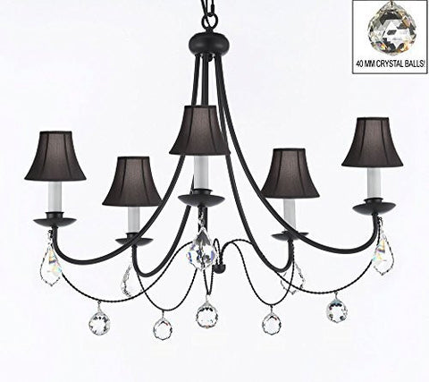 "Empress Crystal (Tm) Wrought Iron Chandelier Lighting H.22.5"" X W.26"" With Black Shades And Crystal Balls Swag Plug In-Chandelier W/ 14' Feet Of Hanging Chain And Wire - J10-B16/Sc/Blackshades/B7/B6/26031/5"