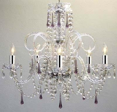 Amethyst Purple Crystal Chandelier w/Chrome Sleeves! H25 X W24 - GO-A46-B43/387/5PURPLE