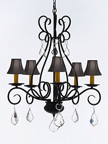 "Wrought Iron Chandelier Crystal Lighting Empress Crystal (Tm) Chandeliers With Black Shades H25.5"" W25.5"" - P7-B7/Sc/Blackshades/441/5"