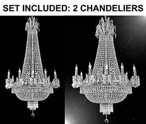 "Set of 2-1 French Empire Silver Crystal Chandelier Lighting W 25"" H52"" 12 Lights - Great for The Dining Room, Foyer, Entry Way, Living Room and 1 French Empire Silver Crystal Chandelier Light 25X32 - 1EA C7/CS/1280/8+4 + 1EA CS/1284/8+4"