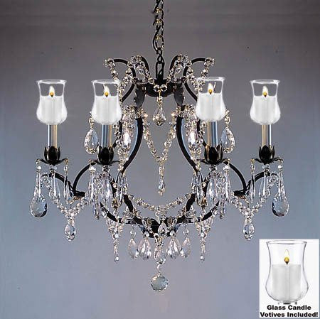 "Crystal Chandelier W/ Candle Votives H19"" W20"" - For Indoor / Outdoor Use! Great For Outdoor Events, Hang From Trees / Gazebo / Pergola / Porch / Patio / Tent ! - F83-B31/3030/6"