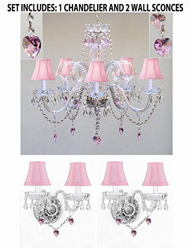 Three Piece Lighting Set - Crystal Chandelier And 2 Wall Sconces W/ Pink Crystal Hearts And Pink Shades - Pnkshd/B21/387/5+2Ea Pnkshd/B21/2/386
