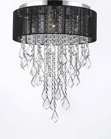 Flushmount 4-Light Chrome And Black Shade Crystal Chandelier Lighting Empress Crystal (Tm) - G7-B7/3/Black/2130/4
