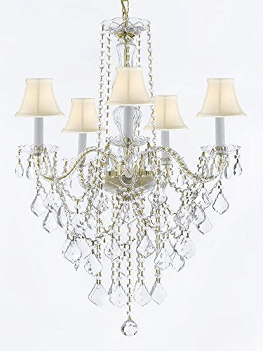 "Murano Venetian Style All-Crystal Chandelier Lighting With White Shades H30"" X W24"" - G46-Sc/Whiteshadecg/3/384/5"