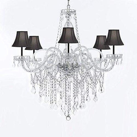 "Murano Venetian Style All-Crystal Chandelier Chandeliers with Black Shades W/Chrome Sleeves H38"" X W32"" - G46-B43/SC/BLACKSHADES/B12/B67/385/6"
