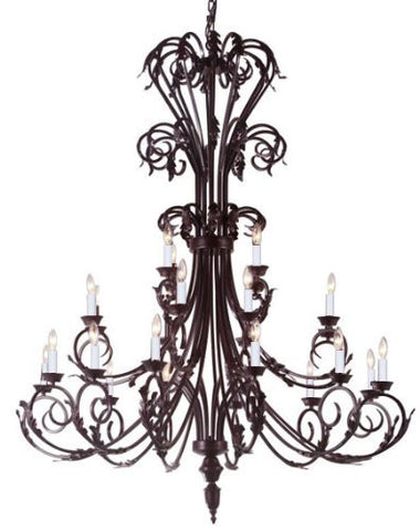"Large Foyer / Entryway Wrought Iron Chandelier 50"" Inches Tall H50"" X W30"" - A83-724/24"