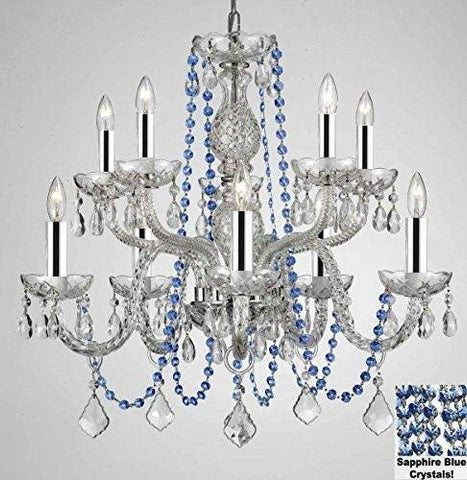 "AUTHENTIC ALL CRYSTAL CHANDELIER CHANDELIERS LIGHTING WITH SAPPHIRE BLUE CRYSTALS! PERFECT FOR LIVING ROOM, DINING ROOM, KITCHEN, KIDS BEDROOM W/CHROME SLEEVES! H25"" W24"" - G46-B43/B82/CS/1122/5+5"