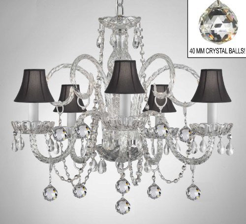 Crystal Chandelier With Black Shades & Crystal Balls - A46-B6/Blackshades/385/5