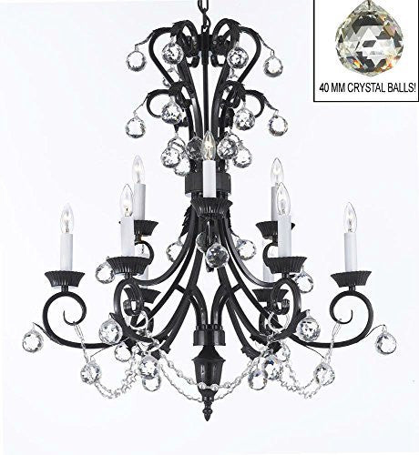 "Foyer / Entryway Wrought Iron Empress Crystal (Tm) Chandelier 30"" Inches Tall With Crystal Balls H 30"" X W 26"" - A84-B6/724/6+3"