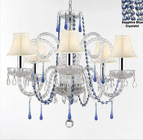 "AUTHENTIC ALL CRYSTAL CHANDELIER CHANDELIERS LIGHTING WITH SAPPHIRE BLUE CRYSTALS AND WHITE SHADES! PERFECT FOR LIVING ROOM, DINING ROOM, KITCHEN, KID'S BEDROOM W/CHROME SLEEVES! H25"" W24"" - G46-B43/B82/WHITESHADES/387/5"