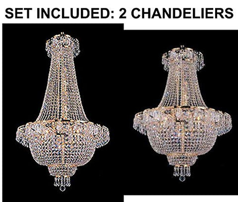 "Set of 2-1 French Empire Crystal Gold Chandelier Lighting - Great for The Dining Room, Foyer, Entry Way, Living Room - H50"" X W24"" and 1 French Empire Crystal Chandelier Lighting H 30"" W 24"" - 1EA C7/928/9 + 1EA 928/9"