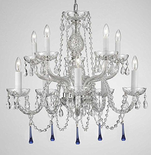 "Murano Venetian Style All Crystal Chandelier Lighting W/ Blue Crystals H 25"" X W 24"" - 6T-Y932-3H3X"