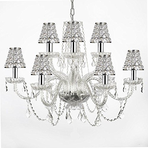 Empress Crystal (Tm) Chandelier Lighting With Chrome Sleeves And Crystal Shades - F46-B32/B43/385/6+6