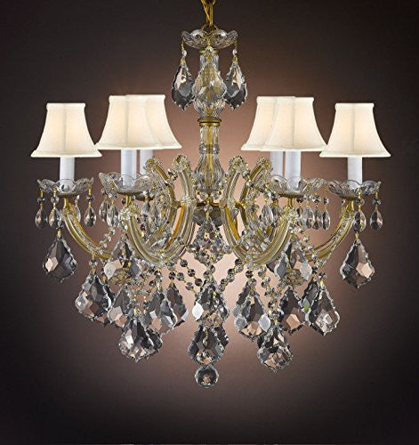 Maria Theresa Crystal Chandelier Empress Crystal (Tm) With White Shades - F83-Whiteshades/B7/7002/6