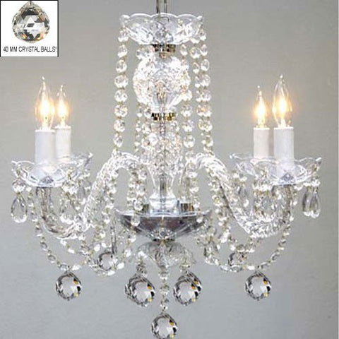Swarovski Crystal Trimmed Chandelier! Chandelier Lighting W/ 40Mm Crystal Balls - G46-B6/275/4Sw