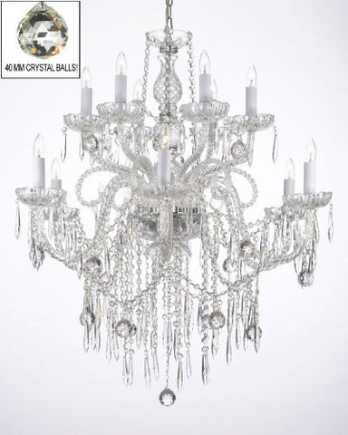 All Crystal Chandelier W/ 40Mm Crystal Balls & Crystal Icicles - A46-B29/3/385/6+6