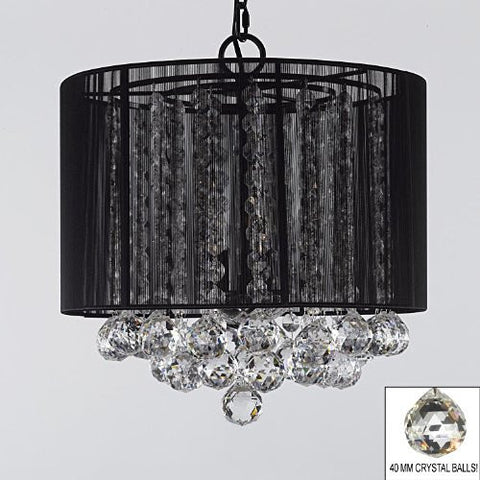 "Crystal Chandelier With Large Black Shade & Balls H15"" X W15"" - G7-B6/Black/Sm/604/3"