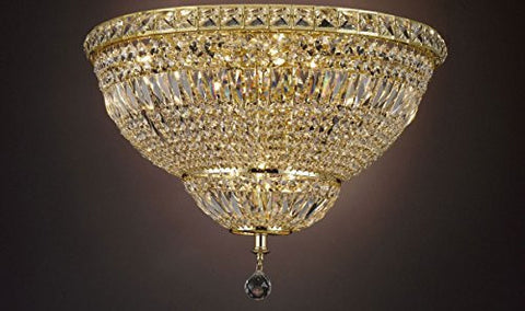 "French Empire Empress Crystal(Tm) Flush Basket Chandelier Lighting H 13"" W 24"" - Cjd-Flush/Cg/2174/24"