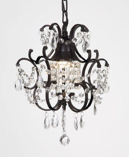 "Chandelier Wrought Iron Crystal Chandeliers H14"" W11"" - J10-26030/1"