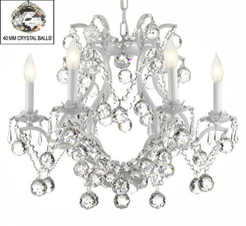 "Swarovski Crystal Trimmed Chandelier White Wrought Iron Crystal Chandelier Lighting H 19"" W 20"" Dressed With Feng Shui 40Mm Crystal Balls - A83-B6/White/3530/6 Sw"