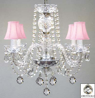 Swarovski Crystal Trimmed Chandelier Murano Venetian Style All Crystal Chandelier W/ Crystal Balls And Pink Shades - J10-B6/Pinkshades/26098/4 Sw