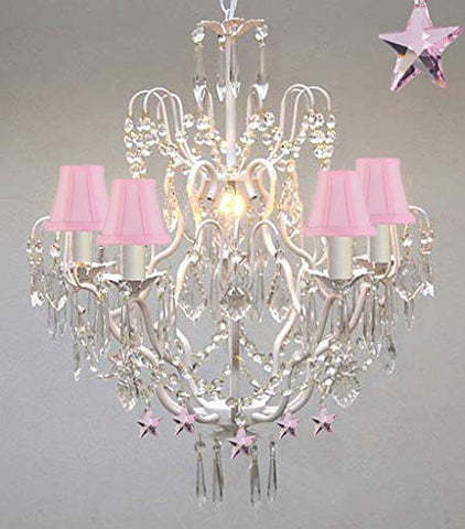 Wrought Iron & Crystal Chandelier Authentic Chandelier With Pink Stars Nursery Kids Girls Bedrooms Kitchen Etc With Pink Shades - J10-Pinkshades/White/B38/C/26025/5