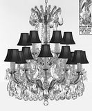 "Swarovski Crystal Trimmed Maria Theresa Chandelier Lights Fixture Pendant Ceiling Lamp Dressed With Large Luxe Crystals H30"" X W28"" - Good For Dining Room Foyer Entryway With Blackshades - A83-Cs/Blackshades/B90/152/18Sw"
