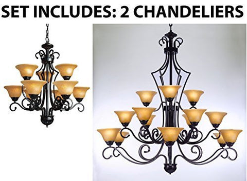 Set Of 2 - 1 For Entryway/Foyer And 1 For Dining Room Wrought Iron Chandelier - 1Ea451/9+1Ea451/15