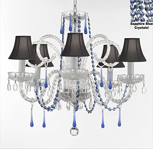 "Authentic All Crystal Chandelier Chandeliers Lighting With Sapphire Blue Crystals And Black Shades! Perfect For Living Room, Dining Room, Kitchen, Kid'S Bedroom! H25"" W24"" - G46-B82/Blackshades/387/5"
