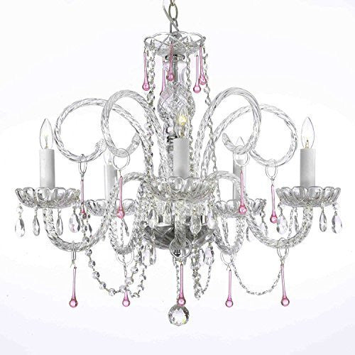 "Swarovski Crystal Trimmed Chandelier Pink Crystal Chandelier Lighting H25"" X W24"" - A46-387/5Pink Sw"