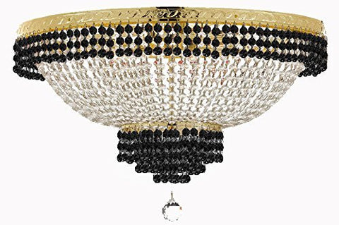"Flush French Empire Crystal Chandelier Lighting Trimmed With Jet Black Crystal Good For Dining Room Foyer Entryway Family Room And More H18"" X W24"" - F93-B79/Cg/Flush/870/9"