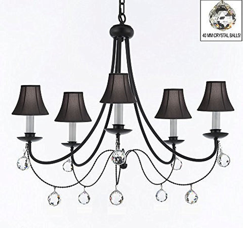 "Empress Crystal (Tm) Wrought Iron Chandelier Lighting H.22.5"" X W.26"" With Black Shades And Crystal Balls - J10-Sc/Blackshades/B6/26031/5"