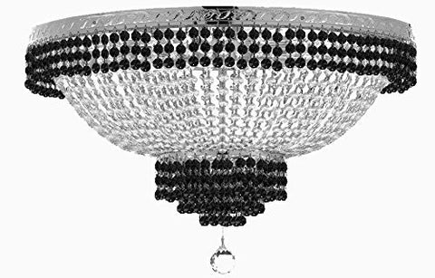 "Flush French Empire Crystal Chandelier Lighting Trimmed With Jet Black Crystal Good For Dining Room Foyer Entryway Family Room And More H18"" X W24"" - F93-B79/Cs/Flush/870/9"