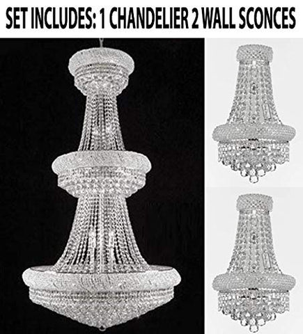 "Set of 3-1 French Empire Crystal Chandelier Chandeliers H66"" x W36"" and 2 Empire Empress Crystal (Tm) Wall Sconce Lighting W 12"" H 17"" - CS/541/32 + CS/2182/12S/WALLSCONCE"