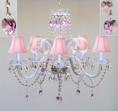 "Chandelier Lighting W/ Crystal Pink Shades & Hearts H25"" X W24"" Swag Plug In-Chandelier W/ 14' Feet Of Hanging Chain And Wire - Perfect For Kid'S And Girls Bedroom - A46-B15/Pinkshades/387/5/Pinkhearts"