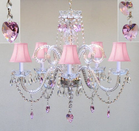 "Chandelier Lighting W/ Crystal Pink Shades & Hearts! H25"" X W24"" - Perfect For Kid'S And Girls Bedroom! - Go-A46-Pinkshades/387/5/Pinkhearts"