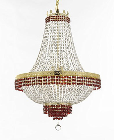 "French Empire Crystal Chandelier Chandeliers Lighting Trimmed With Ruby Red Crystal Good For Dining Room Foyer Entryway Family Room And More H30"" X W24"" - F93-B74/Cg/870/9"